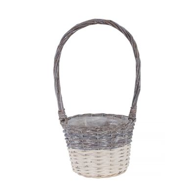 20cm Two Tone White Wash Round Basket w/Handle