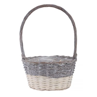 30x22cm Two Tone White Wash Oval Basket w/Handle