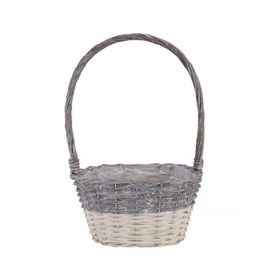 25x17cm Two Tone White Wash Oval Basket w/Handle