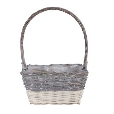 30x22cm Two Tone White Wash Rectangular Basket w/Handle