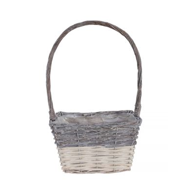 24x17cm Two Tone White Wash Rectangular Basket w/Handle