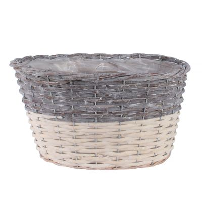 32x25cm Two Tone White Wash Oval Basket