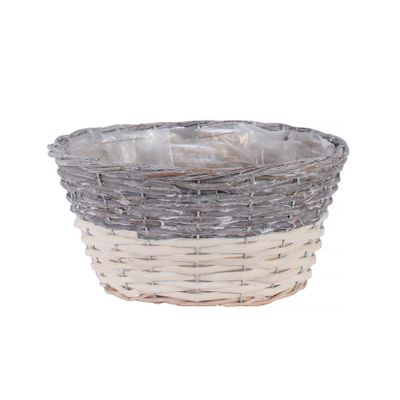 27x19cm Two Tone White Wash Oval Basket