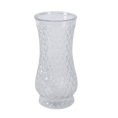 21 x 10.5cm Clear Textured Vase