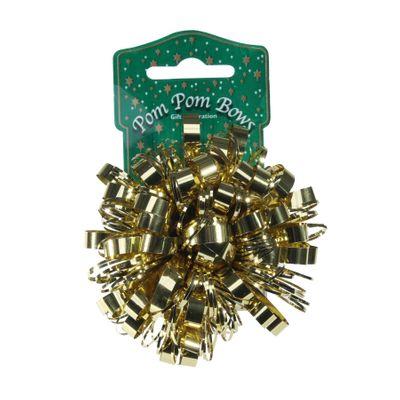 Metallic Gold Pom Pom Bow (8cm)