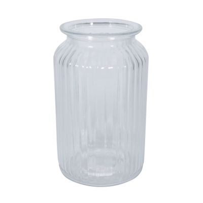 Ribbed Glass Vase (18.5cm)
