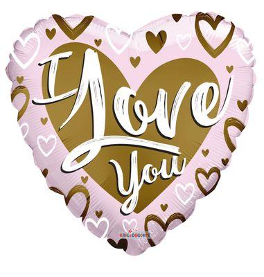 I Love You Matt Gold & Pink Heart Balloon (18 inch)