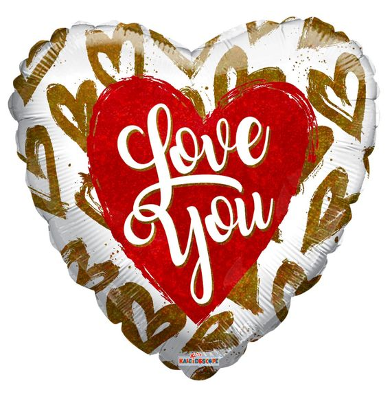 Holographic Hearts Love Balloon (18 inch)