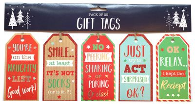 20 Pack Festive Text Tags