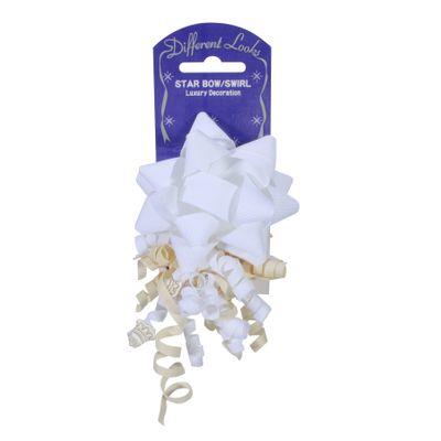 White / Ivory Grosgrain Star / Bow Swirl (Bow 11cm)