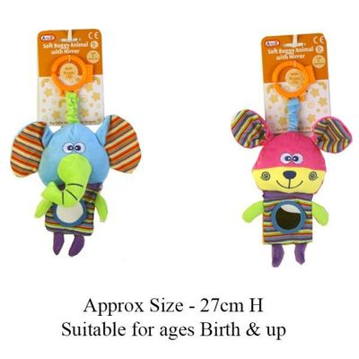 Soft Animal Buggy Toy with Mirror (Assorted Designs)