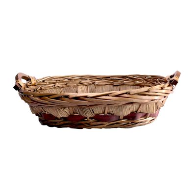 Light Brown and Burgundy Two Tone Oval Tray Basket