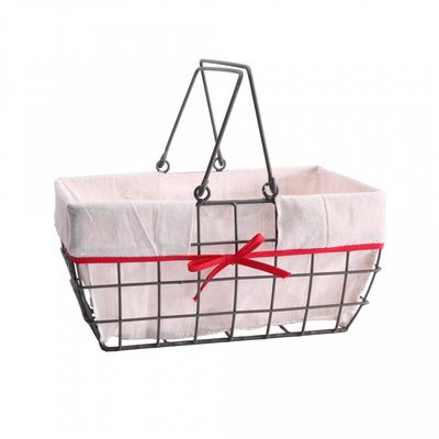 Metal Frame Rectangle Basket with Liner 31cm