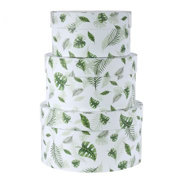 Round Green Tropical Leaf Hat Boxes Set of 3