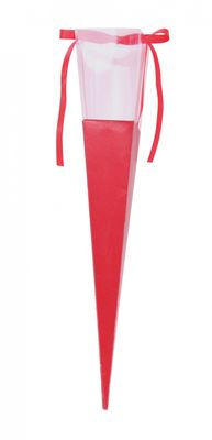 Red Rose Tube with Ribbon (42x7cm)