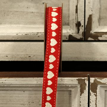 Red Hearts Linen Ribbon 15mm