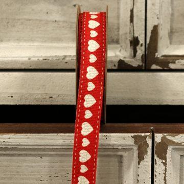 Red Hearts Linen Ribbon 15mm