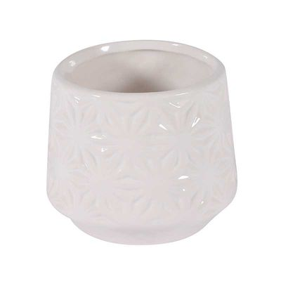White Textured Ceramic Pot