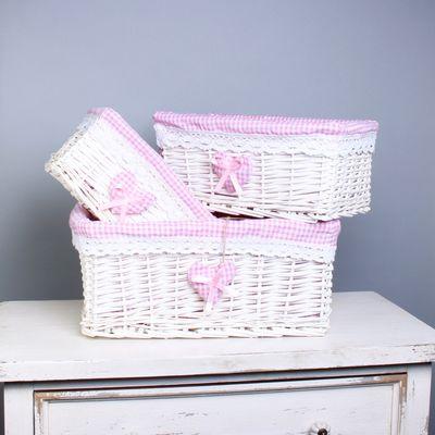 Set of 3 White Basket