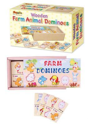 Wooden farm animal dominoes