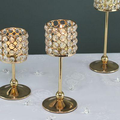 25cm Gold crystal effect candle holder