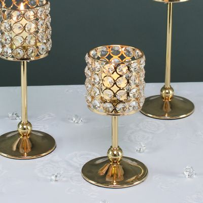 20cm Gold crystal effect candle holder