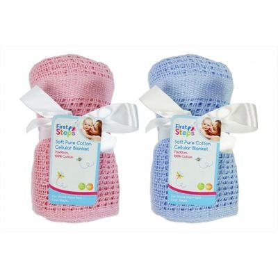 Blue & Pink Cotton Cellular Blankett