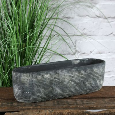 Grey Zen Ceramic Flowerpot Trough 10cm
