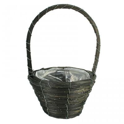 Round Silver Glitter Basket with Handle 20cm