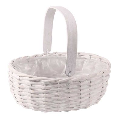 Whitewash Willow Trug Basket with Handle
