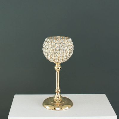 33cm Gold Globe Candle Holder