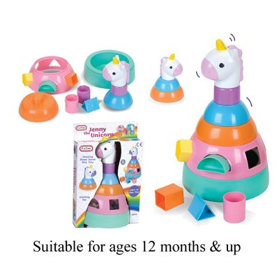 T19236 Shape sorter with unicorn head and 6 colourful shapes.