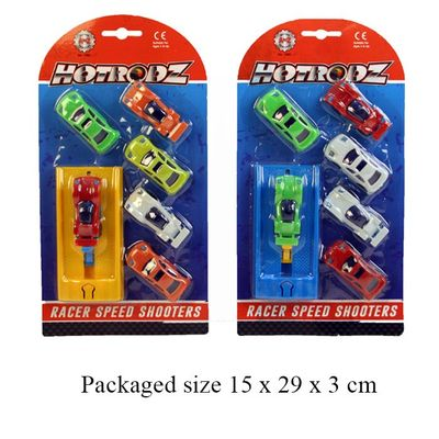 T19256 A set of 6 racing cars with a speed shooter launch pad