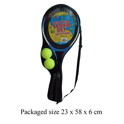 T19260 Twin metal tennis racket set with case includes 2 tennis balls