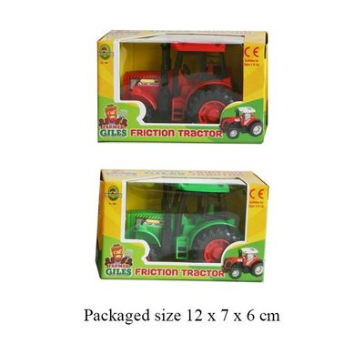 T19261 Friction powered tractor comes in either red or green.