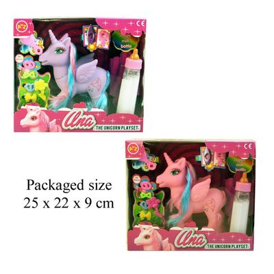 T19278 Unicorn with long mane and tail magic milk bottle small hair brushes and hair clips (2 asst)
