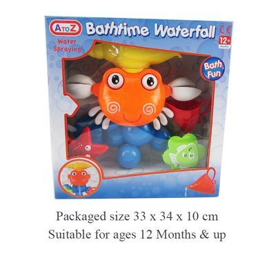 T19388 Crab Bath Toy With 3 Suction Cups To Stick To Your Bath. Falling Water Makes The Eyes And Claws Move And The Animals Spin. Comes With Shell Shaped Cup.