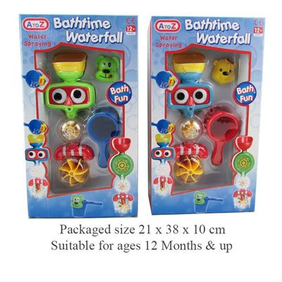 T19389 Waterfall Bath Toy. Pour Water Through Top To Make Wheels Spin. Includes Suction Cup To Secure To Bath And Dogs Head And Cup With Holes For Pouring.