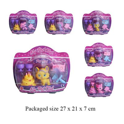 T19416 6 Assoerted Pets With Playset.