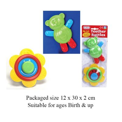 T19537 2 Infants Teethers Made From Safe Durable Plastic.