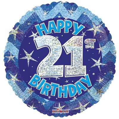 Blue Holographic Happy 21st Birthday Balloon - 18 inch