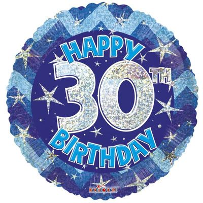 Blue Holographic Happy 30th Birthday Balloon - 18 inch