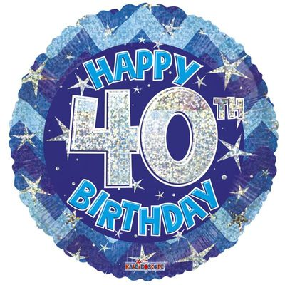 Blue Holographic Happy 40th Birthday Balloon - 18 inch