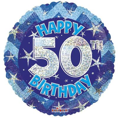 Blue Holographic Happy 50th Birthday Balloon - 18 inch