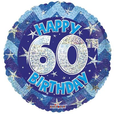 Blue Holographic Happy 60th Birthday Balloon - 18 inch
