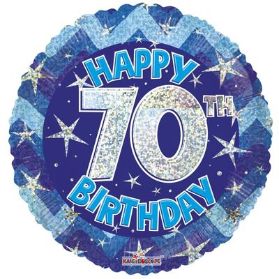Blue Holographic Happy 70th Birthday Balloon - 18 inch