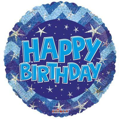 Blue Holographic Happy Birthday Balloon - 18 inch