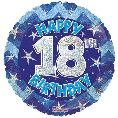 Blue Holographic Happy 18th Birthday Balloon - 18 inch