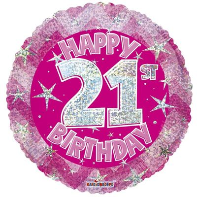 Pink Holographic Happy 21st Birthday Balloon - 18 inch