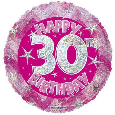 Pink Holographic Happy 30th Birthday Balloon - 18 inch